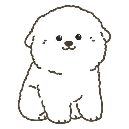 Outlined white Bichon Frize sitting