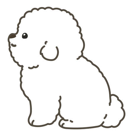 Outlined white Bichon Frize sitting in side view