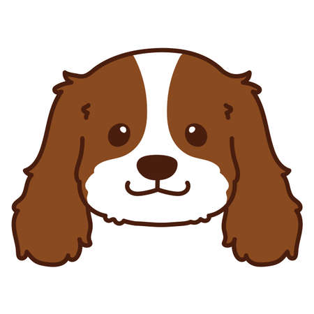 Outlined Brown Cavalier King Charles Spaniel Head