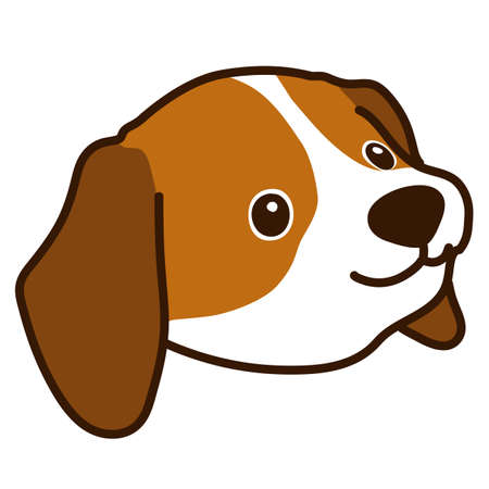 Outlined Brown Beagle Puppy head 45 degrees angle Ilustración de vector