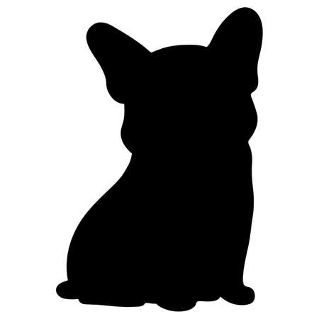 Silhouette of French Bulldog sitting in front view