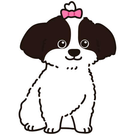 Outlined Shih Tzu sitting front view with pink ribbon Vector Illustration