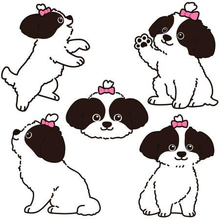 Set of outlined Shih Tzu illustrations