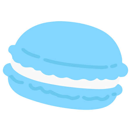 Simple and flat colored blue macaroon 矢量图像
