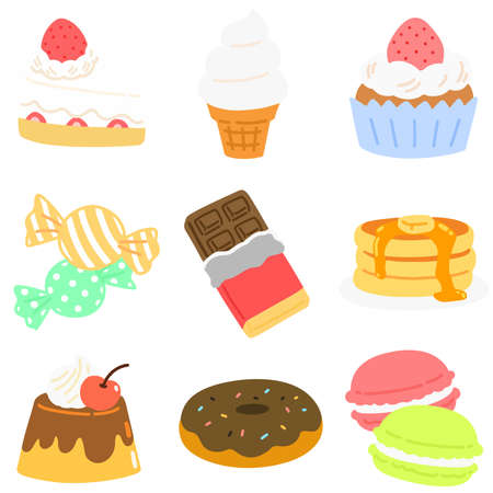 Cute sweets and snacks without outlines set 矢量图像