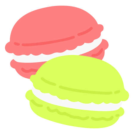 Simple and flat colored pink/green macaroons 矢量图像