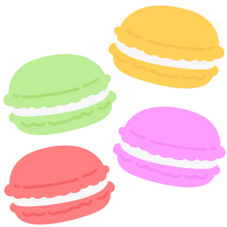 Simple and flat colored macaroons set 矢量图像