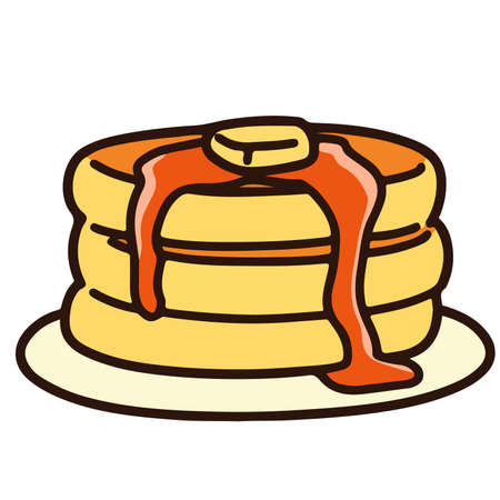 Outlined pancakes with syrup and butter