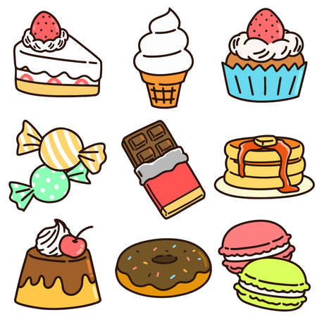 Set of cute snacks and sweets with outlines