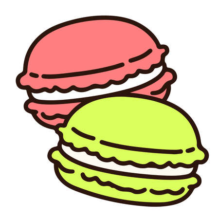 Outlined two pastel colored macaroons