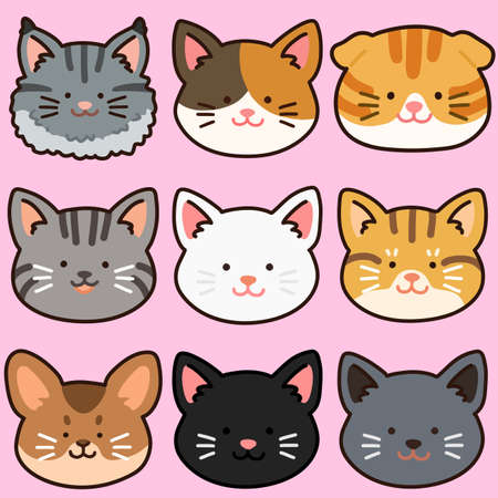 Outlined adorable and simple cat heads set