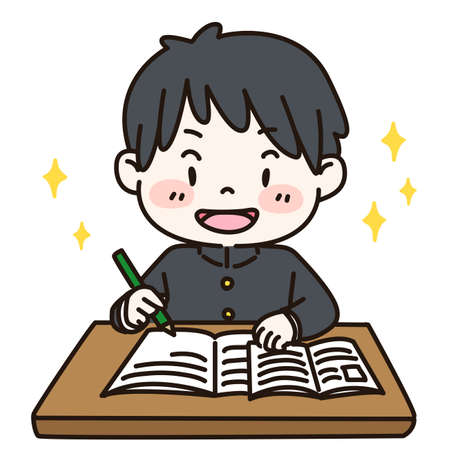 Outlined cute and simple illustration of a student enjoying studying