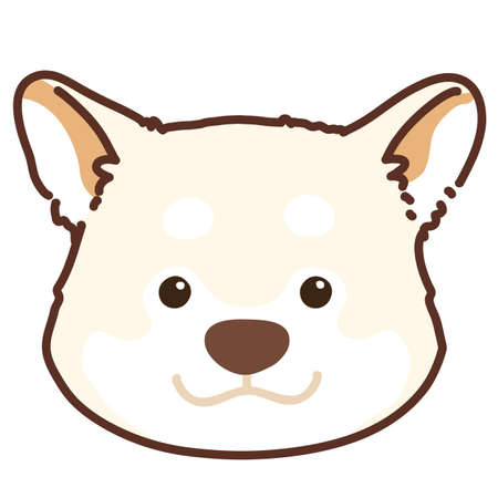 Outlined white Shiba Inu front head