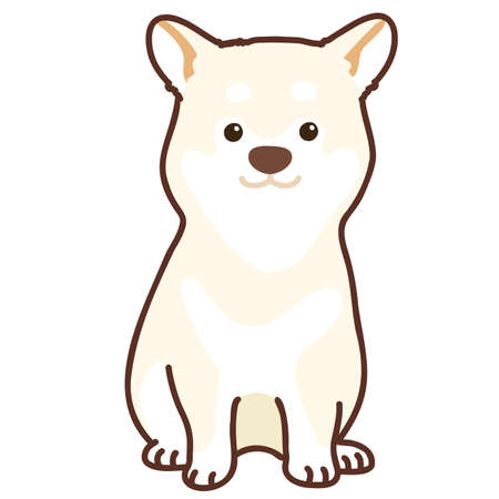 Simple and cute outlined white Shiba Inu sitting