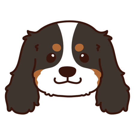 Outlined Tricolor Cavalier King Charles Spaniel Head