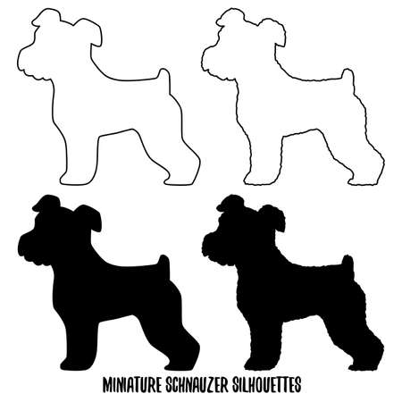 Set of Miniature Schnauzer silhouettes