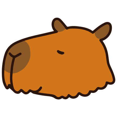 Outlined simple and cute brown capybara
