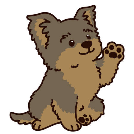 Outlined simple and adorable Yorkshire Terrier sitting and waving hand illustration