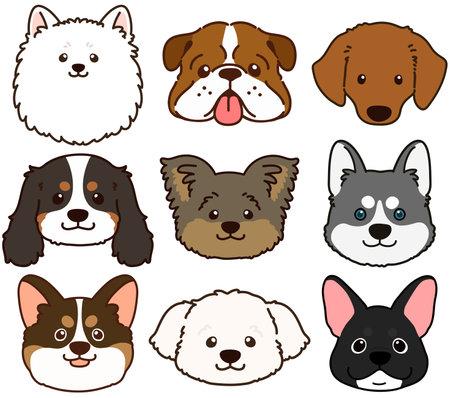 Set of outlined cute and simple dog heads Ilustração Vetorial