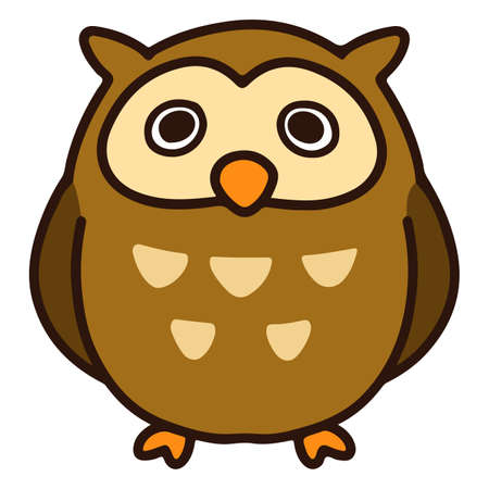 Brown and simple round owl Vettoriali