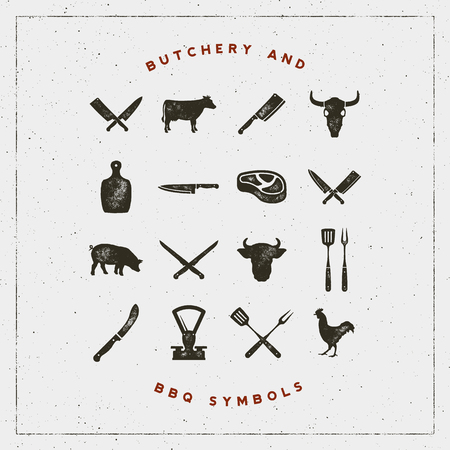 set of butchery and barbecue symbols with letterpress effect. vector illustration 向量圖像