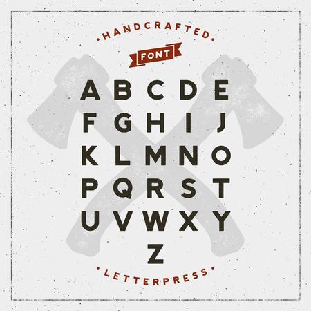 Vintage retro handcrafted font with letterpress effect. vector illustration  イラスト・ベクター素材