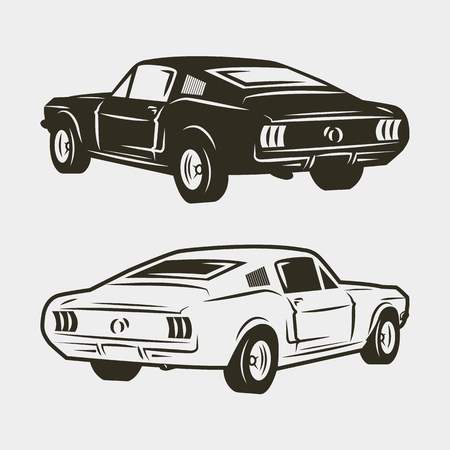 Vintage Muscle Cars Inspired Cartoon Sketch Royalty Free Cliparts ...