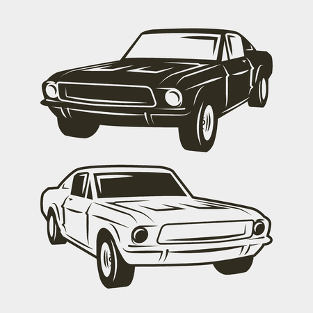 Muscle car isolated on white background. vector illustration 일러스트