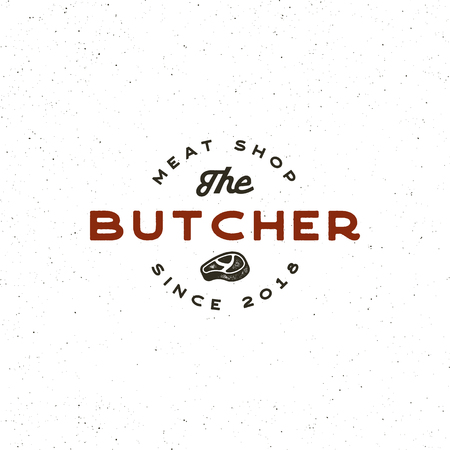 Vintage butchery retro styled meat shop emblem.