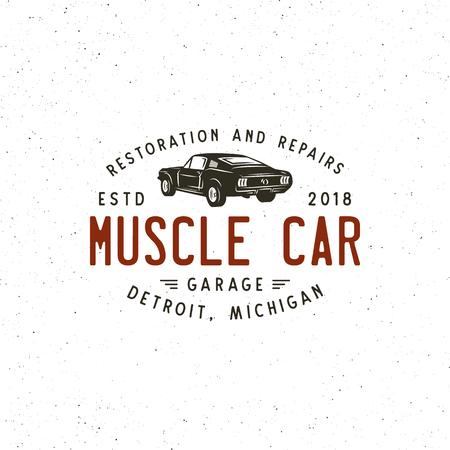 Vintage muscle car garage icon image