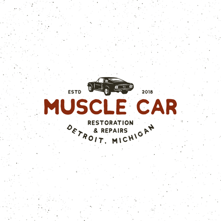 Vintage muscle car garage icon image