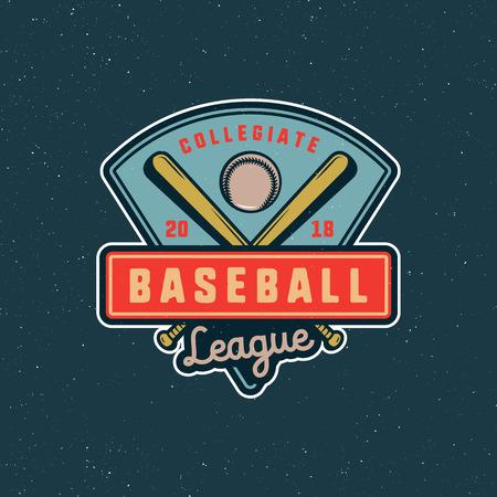 Vintage baseball logo vector illustration