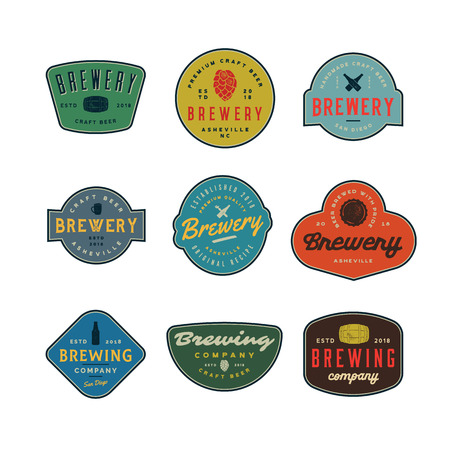 Brewery logo vector illustration set