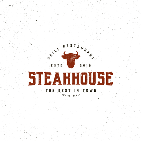 vintage steak house logo. retro styled grill restaurant emblem. vector illustration Stock Illustratie