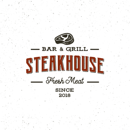 vintage steak house logo. retro styled grill restaurant emblem. vector illustration Vectores