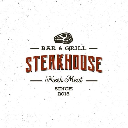 vintage steak house logo. retro styled grill restaurant emblem. vector illustration Illustration