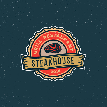 vintage steak house logo. retro styled grill restaurant emblem. vector illustration Çizim