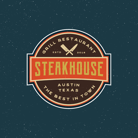 vintage steak house logo. retro styled grill restaurant emblem. vector illustration Illusztráció