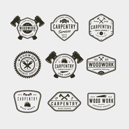 Set of vintage carpentry logos. Vector illustration