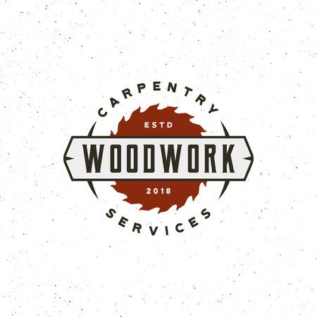 Vintage logo stolarki. Godło drewna w stylu retro. Ilustracji wektorowych