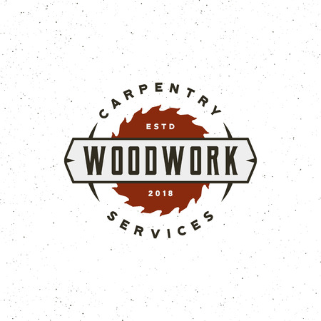 Vintage carpentry logo. Retro styled wood works emblem. Vector illustration