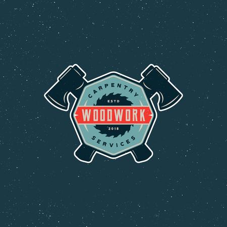 Vintage carpentry logo. Retro styled wood works emblem. Vector illustration