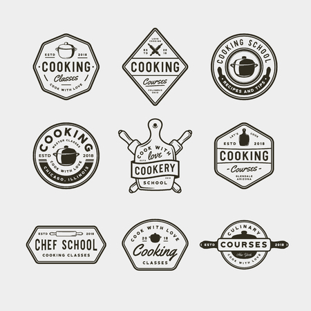 zestaw logo rocznika gotowania. emblematy szkoły kulinarnej w stylu retro. ilustracja wektorowa
