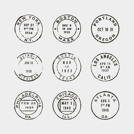 Set of vintage postage stamps. vector illustration Vectores