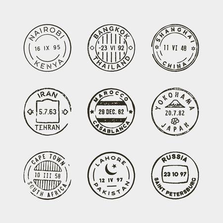 Satz von Vintage Briefmarken. Vektor-Illustration