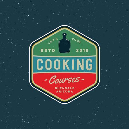 Vintage cooking classes logo. retro styled culinary school emblem. vector illustration. Ilustração