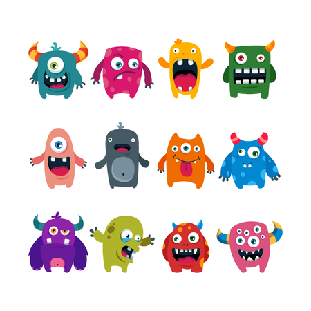 A set of cartoon cute monsters flat vector illustration isolated on plain background.