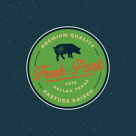 Premium fresh pork label. retro styled meat shop emblem. vector illustration.