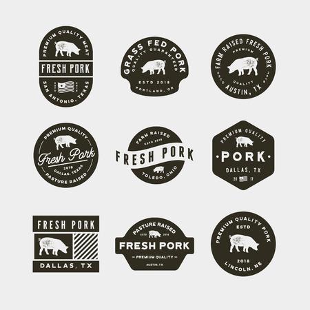 Set of premium fresh pork labels. vector illustration.