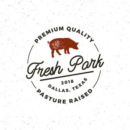 A premium fresh pork label vector illustration isolated on plain background.